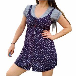 Abercrombie & Fitch Floral Ditsy Denim Tank Dress